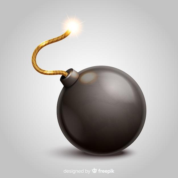 Круглая черная бомба в реалистичном стиле Бесплатные векторы