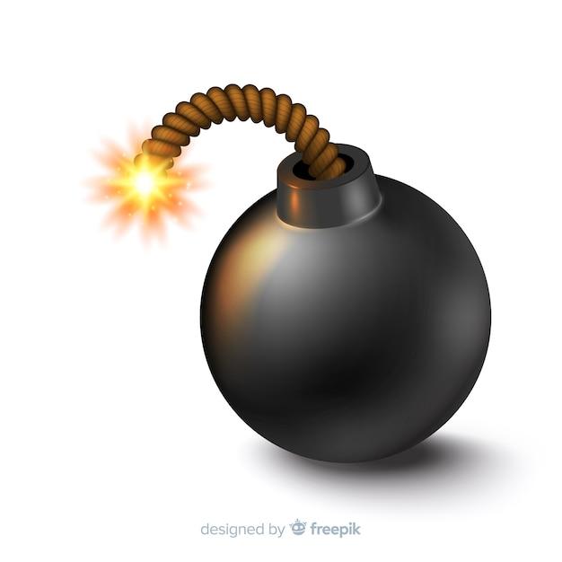 Round black bomb realistic style Free Vector