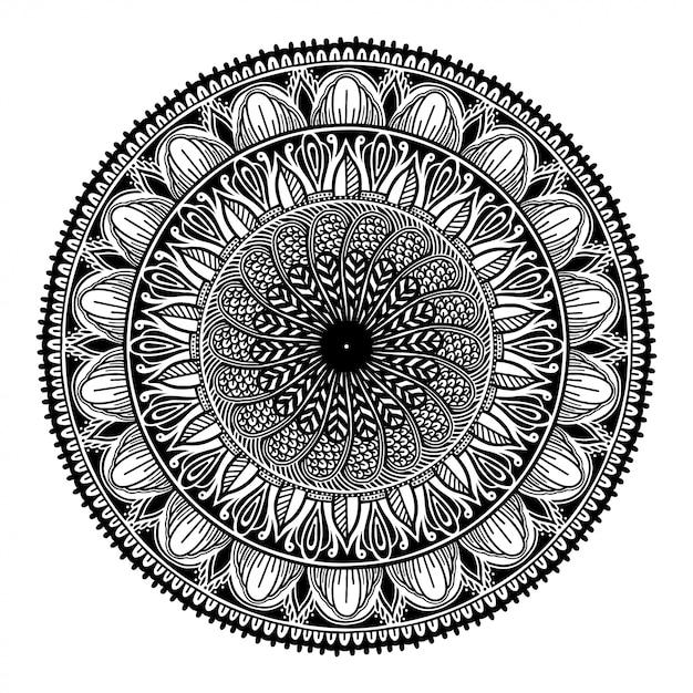 Round black mandala on white isolated white background. Premium Vector