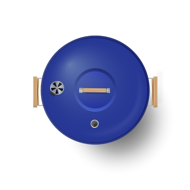 Round blue  closed barbecue grill top view  realistic Premium Vector