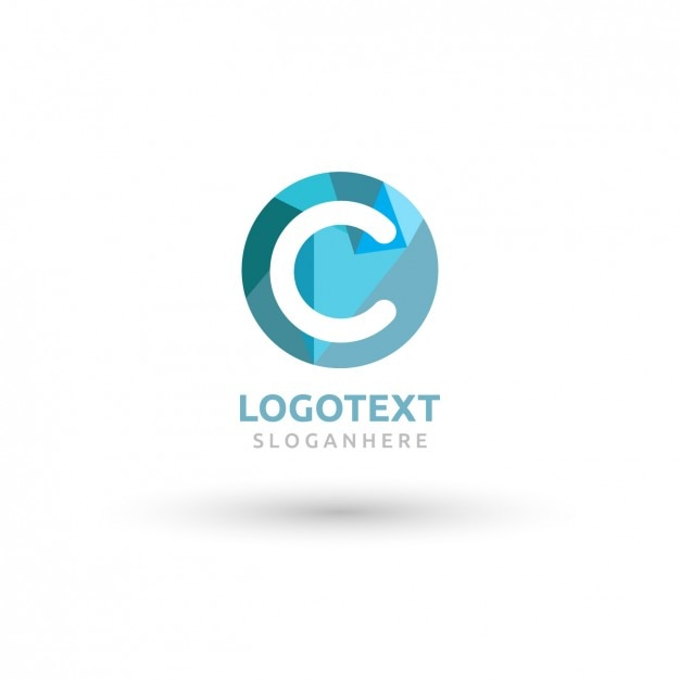 Round blue logo with a big c Free Vector