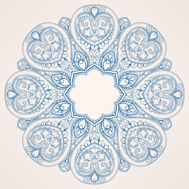 Круглый синий узор Premium векторы