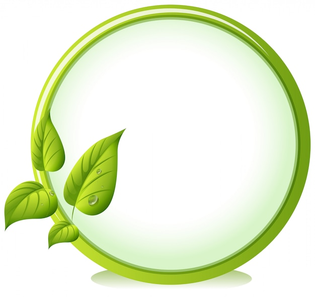 A round border with four green leaves Free Vector