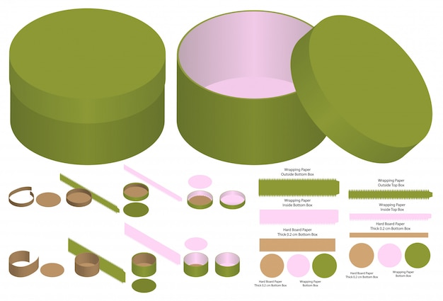 Round box packaging die cut template design. 3d mock-up Premium Vector