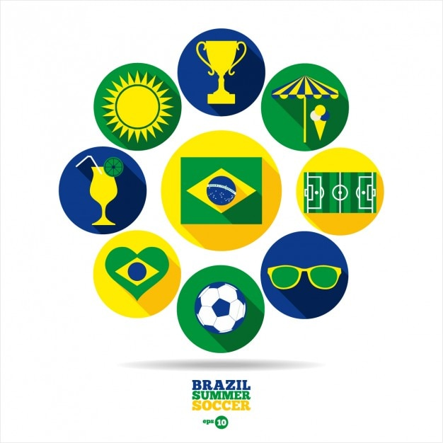 Round Brazil summer soccer elements