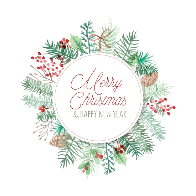Round christmas card frame Free Vector