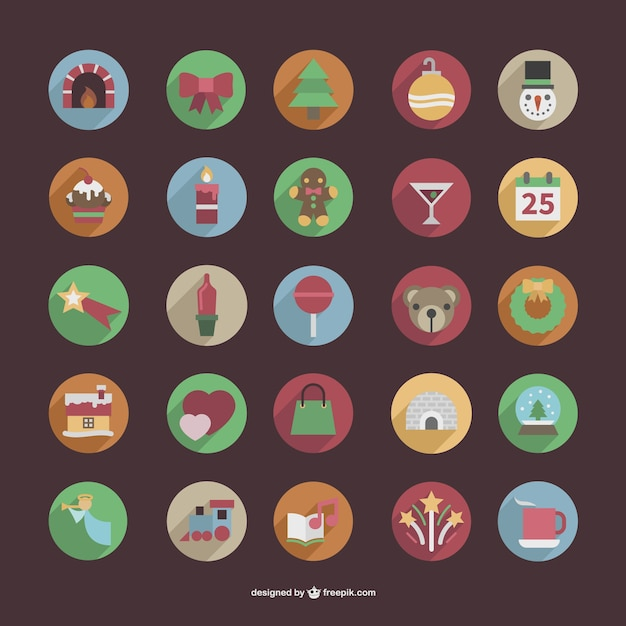 Round Christmas color icons