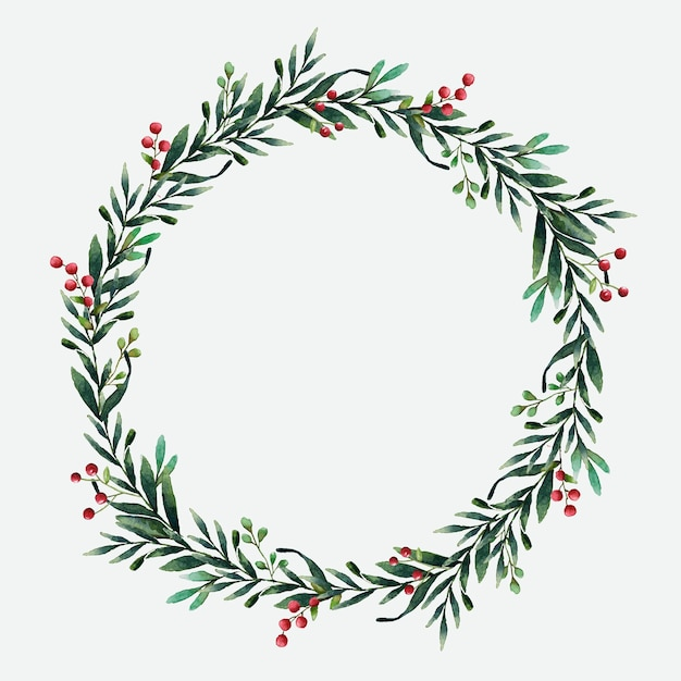 Christmas Wreath Silhouette Vector.Round Christmas Wreath Vector Watercolor Style Vector Free
