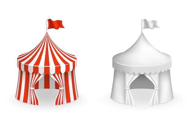 둥근 서커스 텐트. 입구 일러스트와 함께 축제 텐트입니다. 서커스와 카니발 프리미엄 벡터