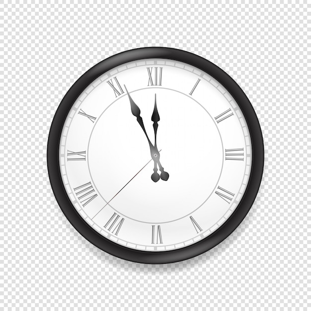 Round classic wall clock isolated on transparent background Premium Vector