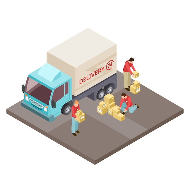 Round the clock delivery service and movers isometric  concept Premium Vector