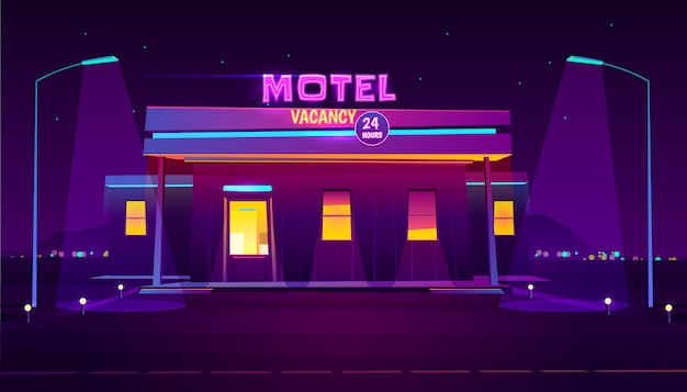 Round the clock, roadside motel with car parking, glowing at night Free Vector