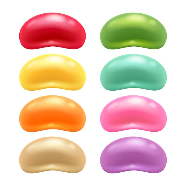 Round colorful jelly beans set. Premium Vector