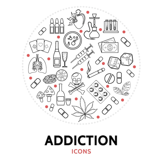Round composition with addiction elements Free Vector
