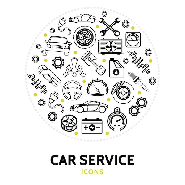 Round composition with car service elements Free Vector