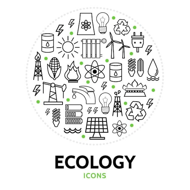 Composizione rotonda con elementi di ecologia Vettore gratuito