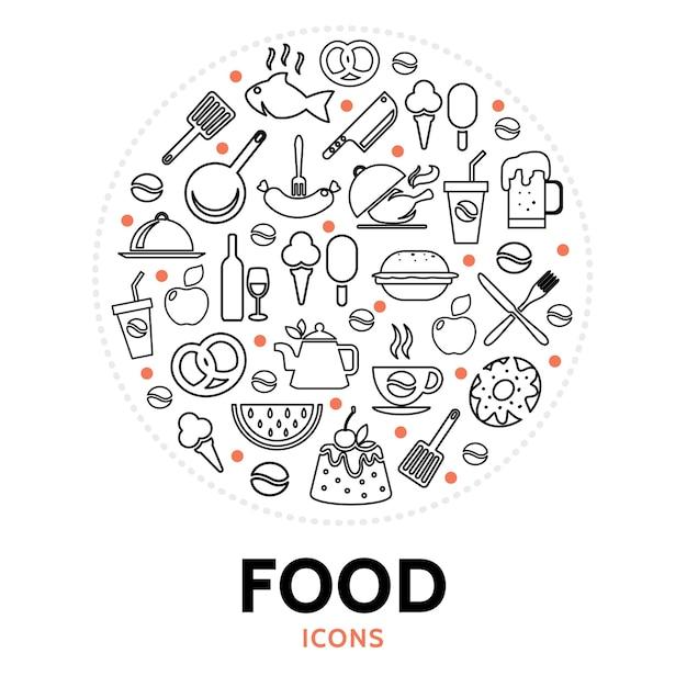 음식 요소와 라운드 구성 무료 벡터