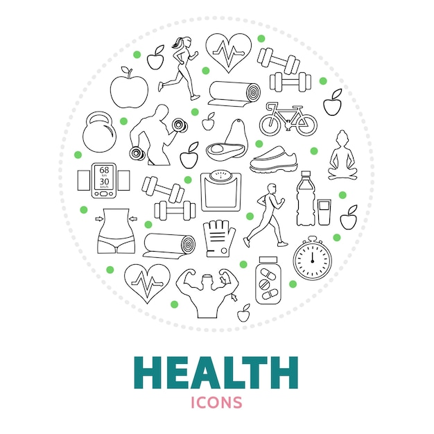 Round composition with health care elements Free Vector