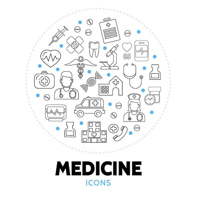 Composizione rotonda con elementi di cure mediche Vettore gratuito