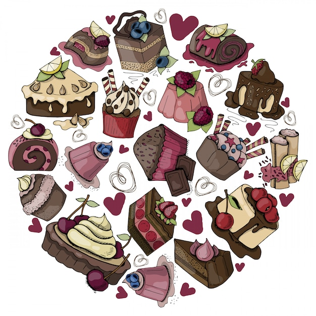 Round composition with sweet food, cakes, muffins Premium Vector
