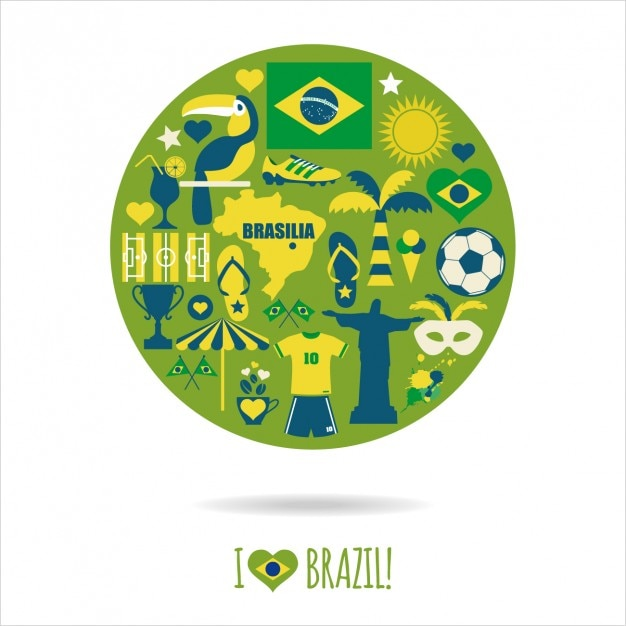 Round composition with traditional brazil elements Free Vector