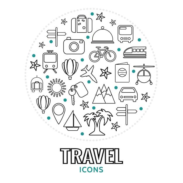 Composizione rotonda con elementi da viaggio Vettore gratuito