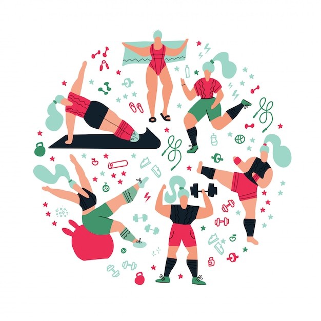 Round composition workout in the gym Premium Vector