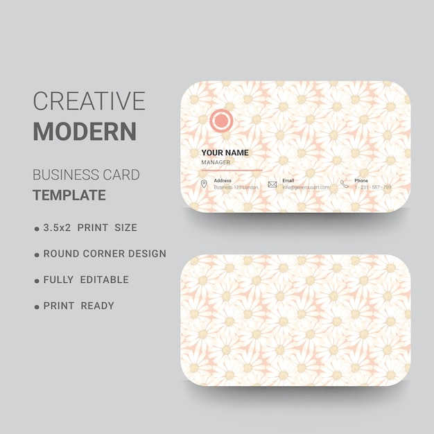 Round Corner Business Card With Flower Background For Spa And - Rounded corner business card template