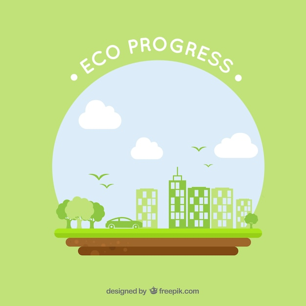 Round eco logo with green buildings and car Free Vector