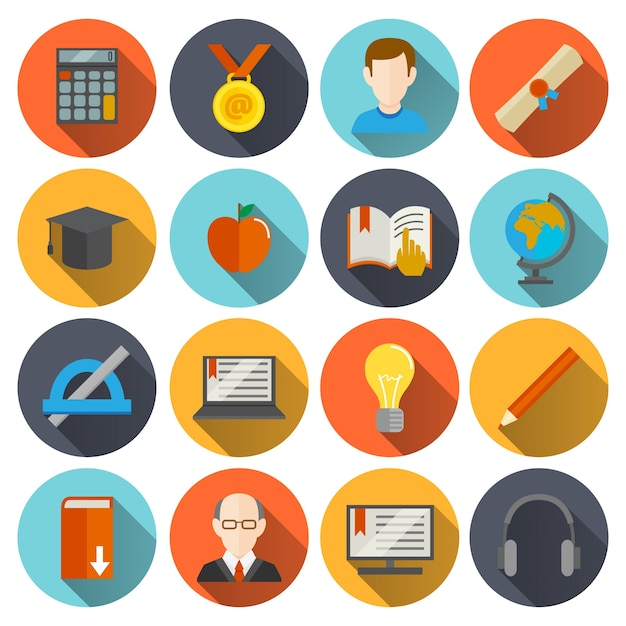 Round education icons Vector | Free Download