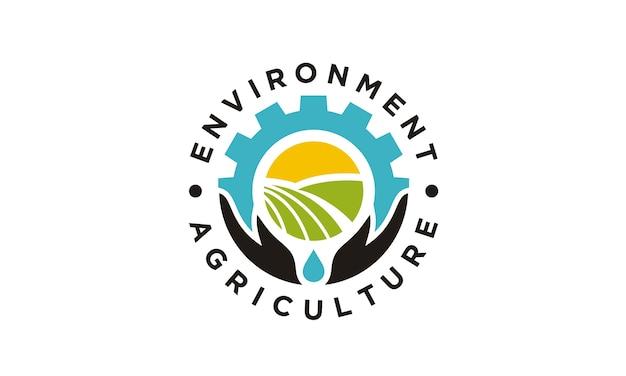 Round emblem / badge for agriculture company logo design Premium Vector