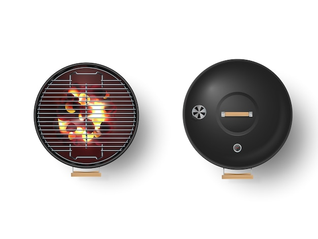 Round empty barbecue grill top view vector set. Premium Vector