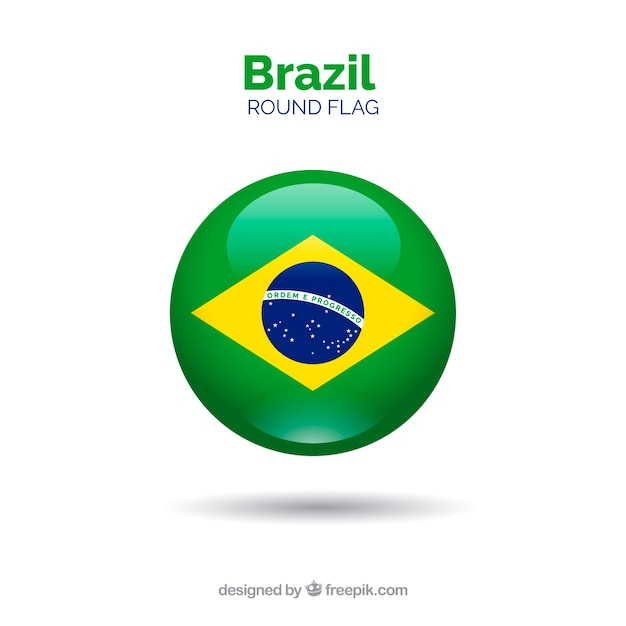 Round flag of brazil Free Vector