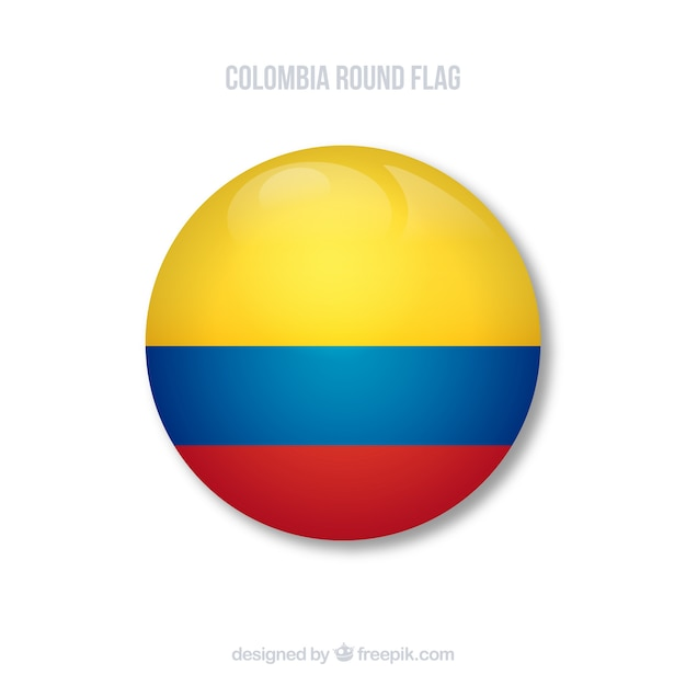 Round flag of columbia Free Vector