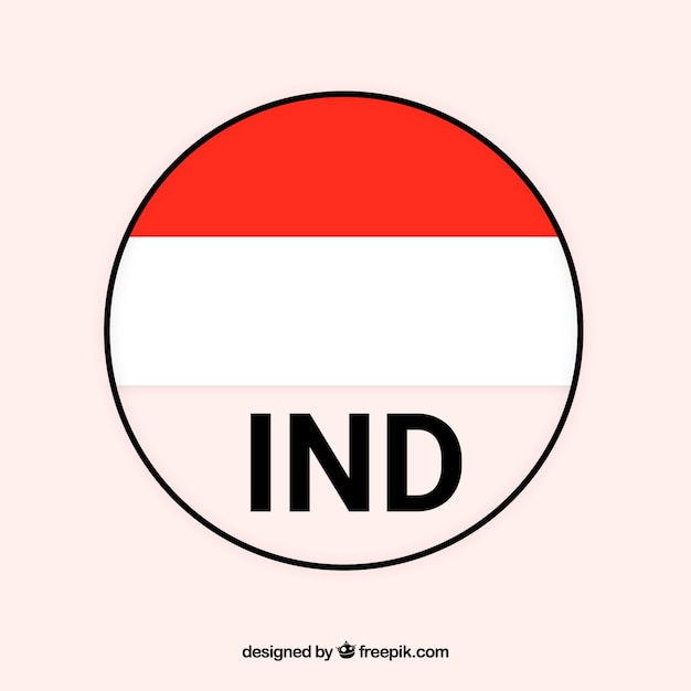 Round flag of indonesia Free Vector