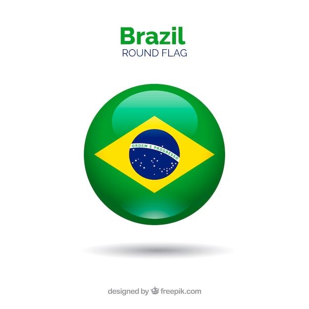 Круглый флаг бразилии Premium векторы