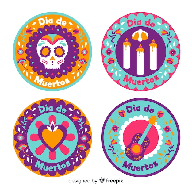 Round flat badges for dia de muertos collection Free Vector