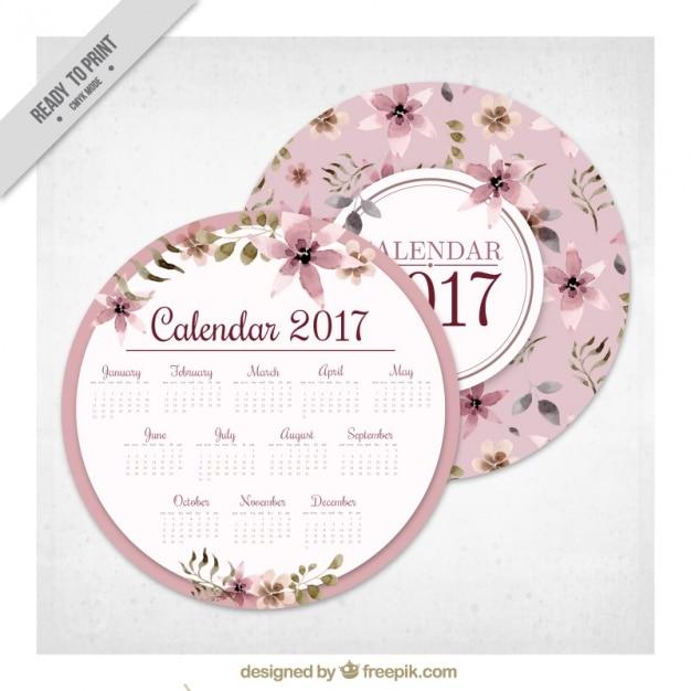 Round floral 2017 calendar Free Vector