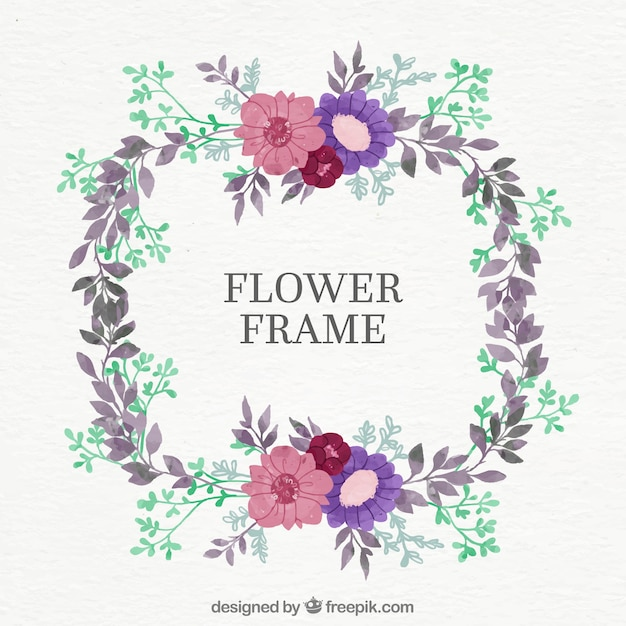 Round Floral Frame With Pink And Purple Flowers Vector Free Download