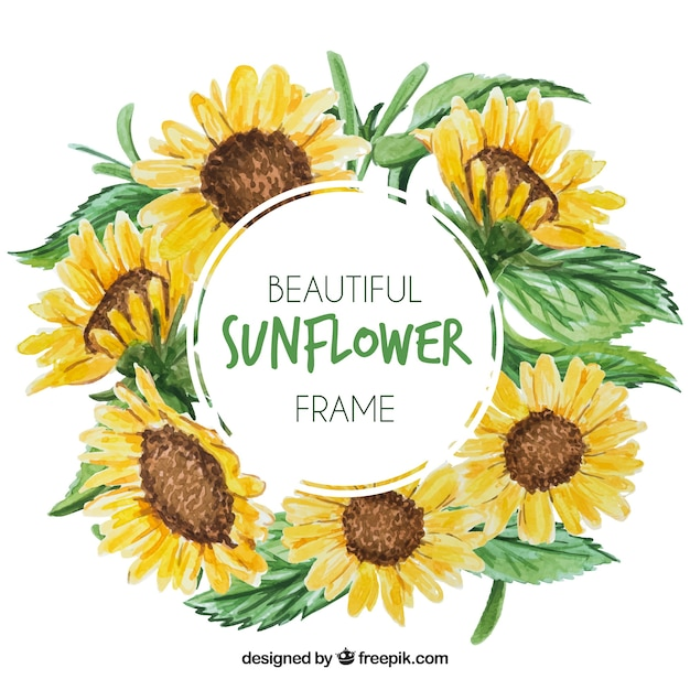 Round floral frame with watercolor sunflowers Free Vector