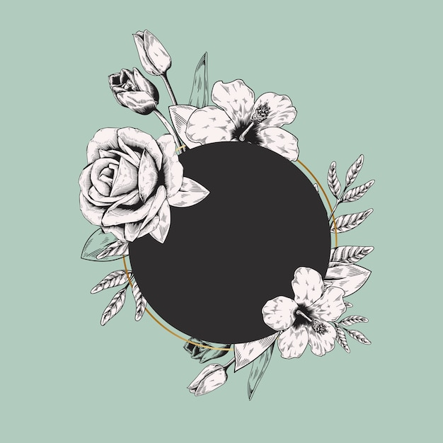Round floral label Free Vector