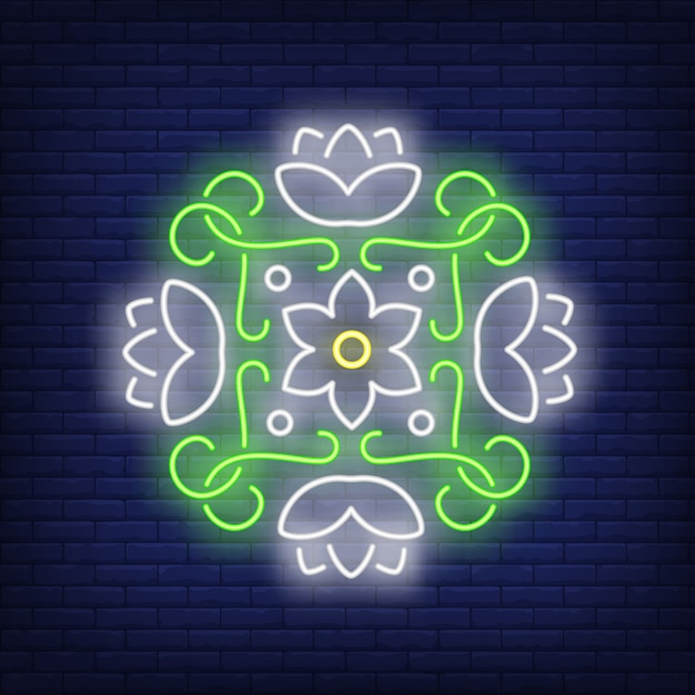 Round floral mandala neon sign Free Vector