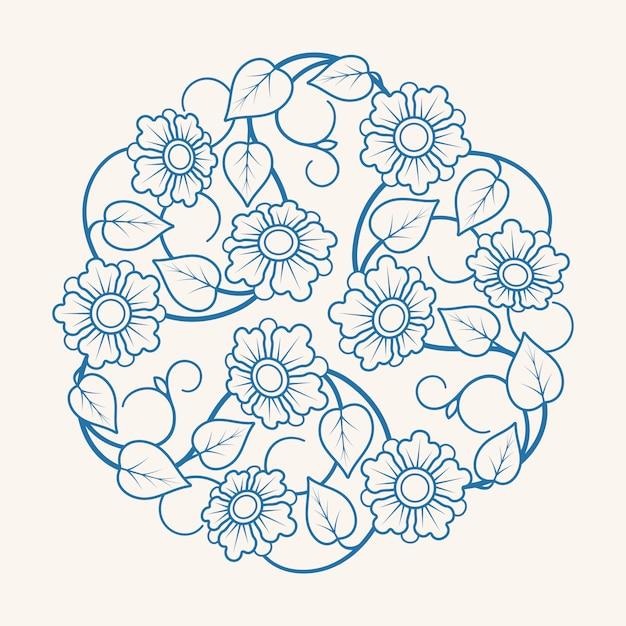Round floral ornament Premium Vector