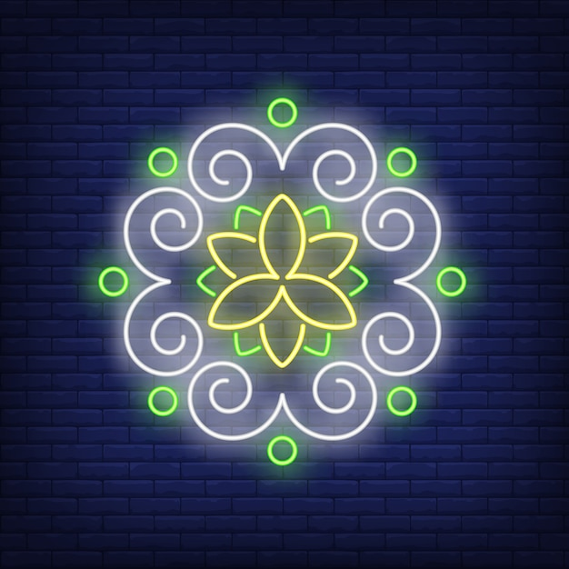 Round floral pattern mandala neon sign Free Vector