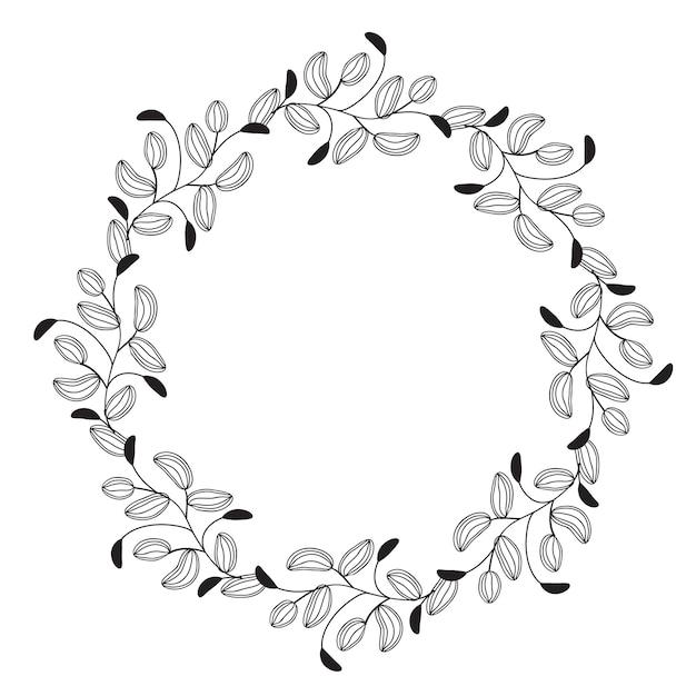 Round flourish vintage decorative leaves frame Premium Vector
