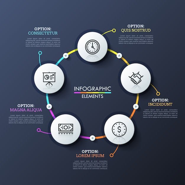 Round flowchart with 5 white circular elements connected by multicolored lines and play buttons. unique infographic design template. Premium Vector