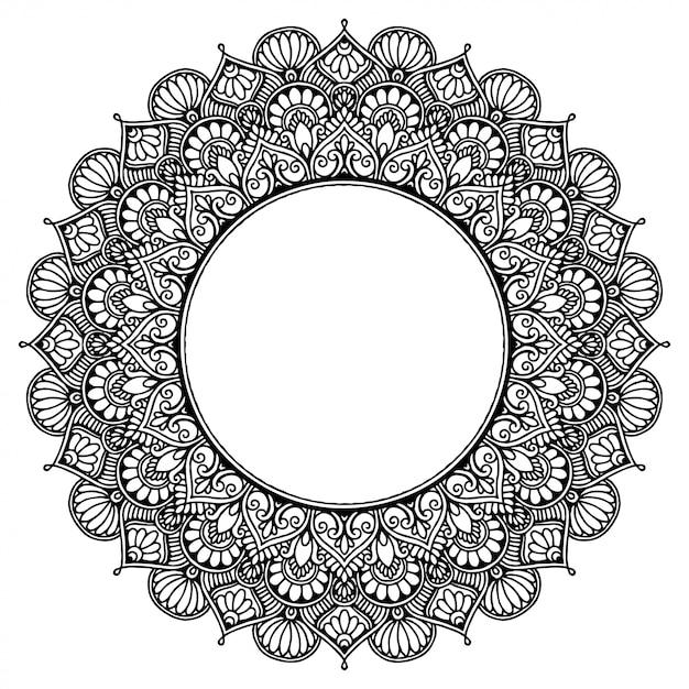 タトゥー、ヘナの丸い花曼荼羅。ヴィンテージの装飾的な要素。 Premiumベクター