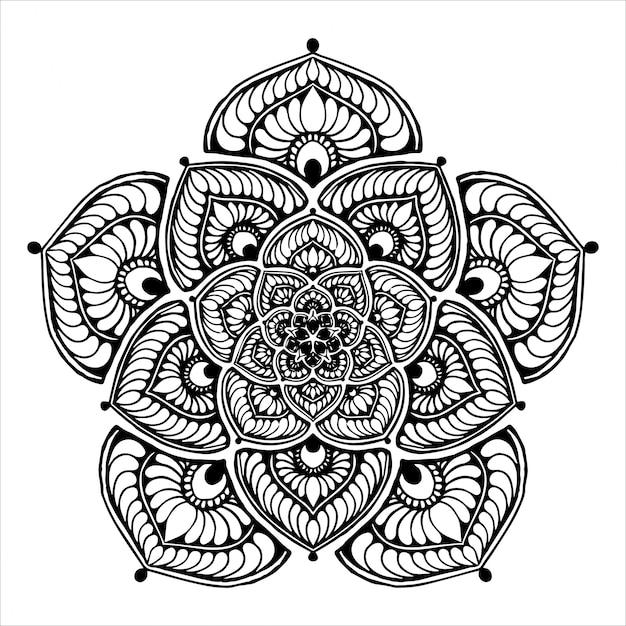 Premium Vector Round Flower Mandala For Tattoo Henna Coloring Book Decorative