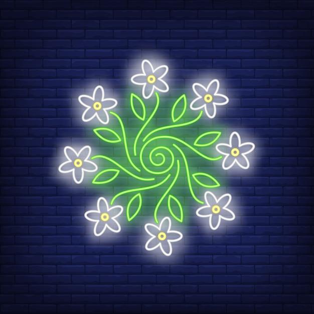Insegna al neon dell'emblema dell'ornamento del fiore rotondo Vettore gratuito