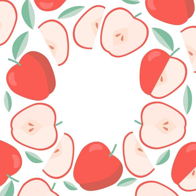 Round frame apples background Premium Vector